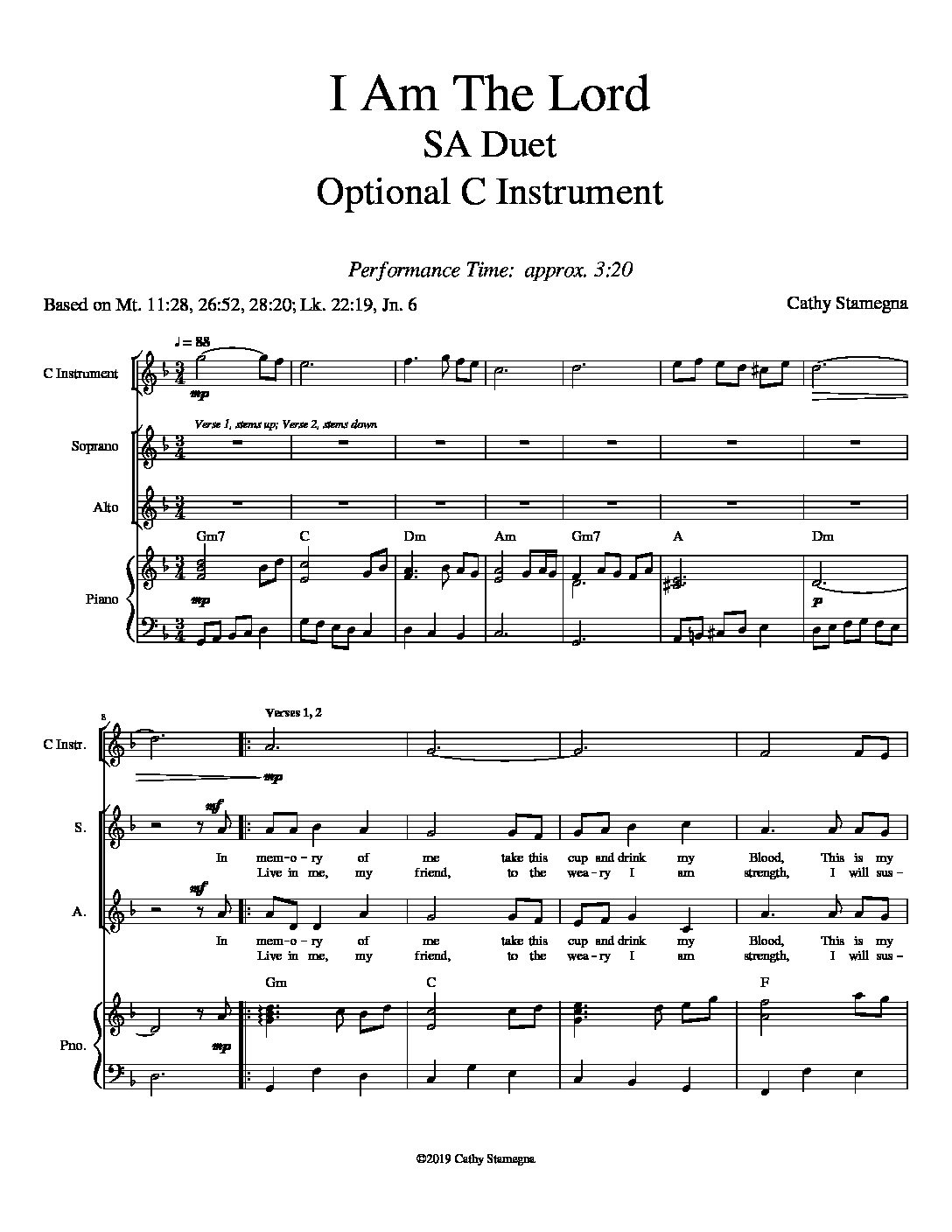 I Am the Lord (Vocal Duet, Chords, Optional C Instrument, Accompanied) for SA, ST, TB Duet